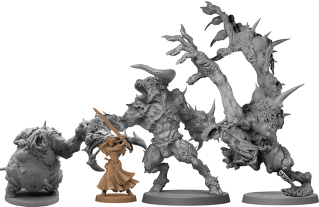 Abominations Size Comparison - Zombicide Black Plague