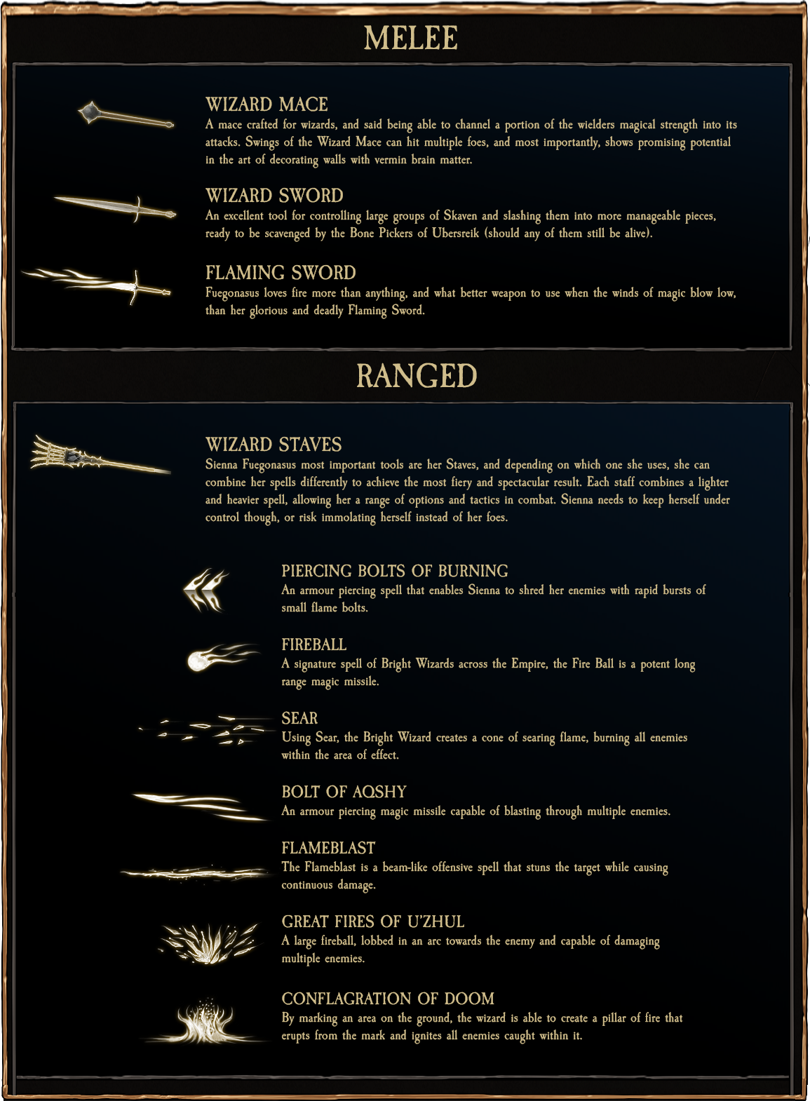 Bright Wizard Weapon Options - Vermintide