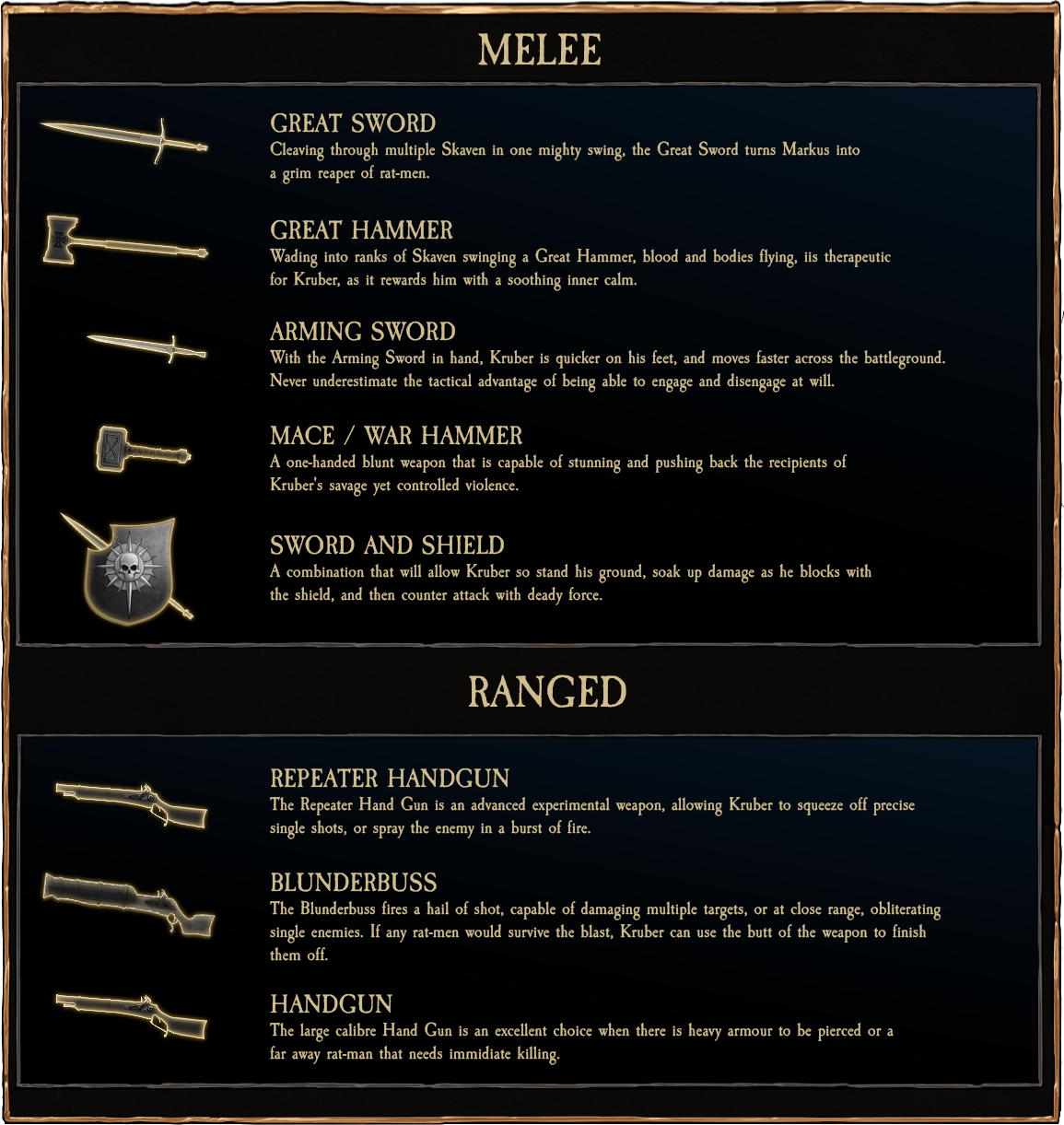 Empire Soldier Weapon Options - Vermintide