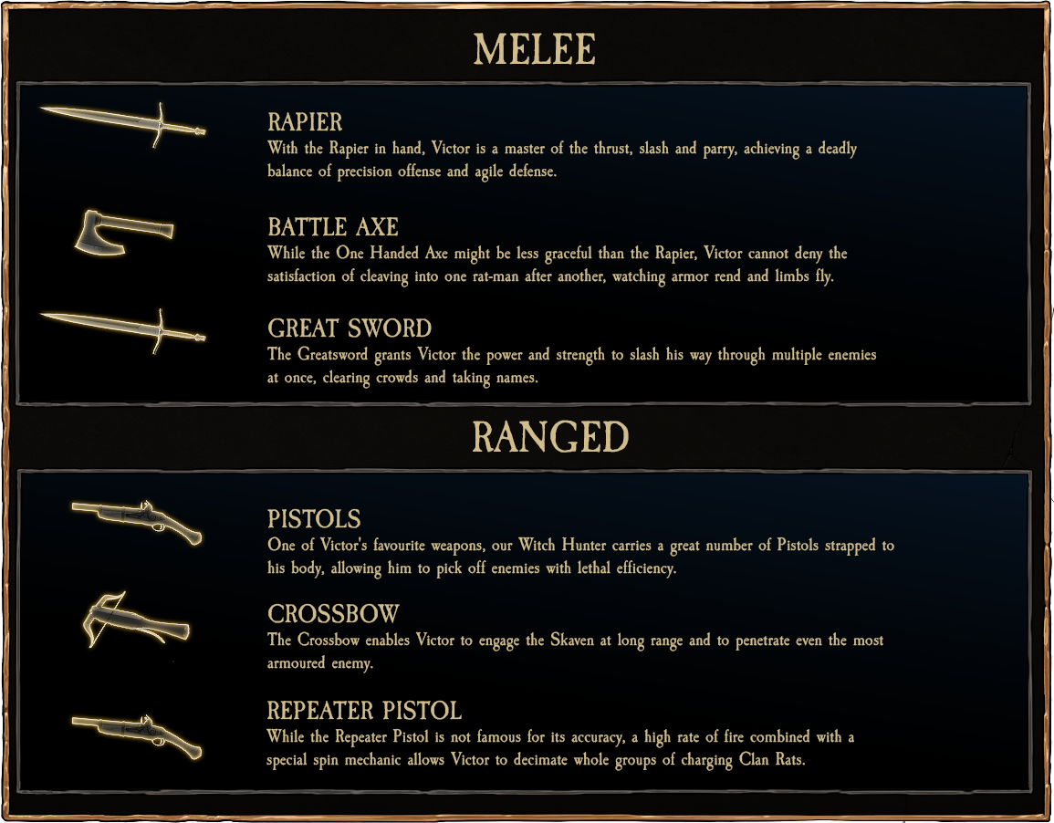 Witch Hunter Weapon Options - Vermintide
