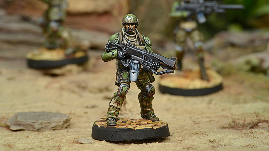 USAriadna Grunts, Line Rangers Regiments with Heavy Flamer