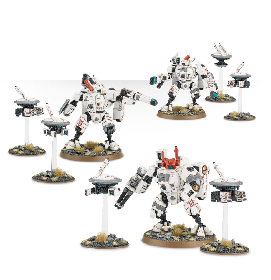 Tau XV8 Crisis Battlesuits with Drones