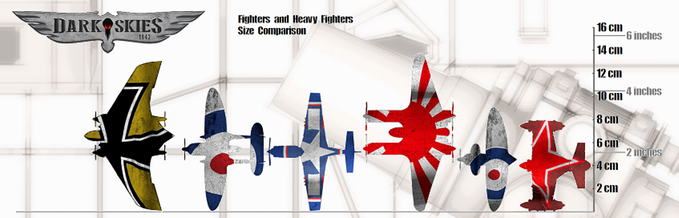 Fighters and Bombers Size Comparison - Dark Skies 1942