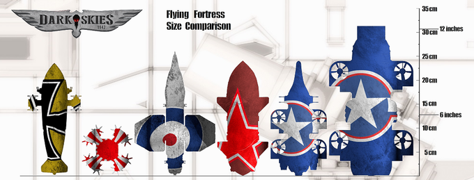 Flying Fortress Size Comparison - Dark Skies 1942
