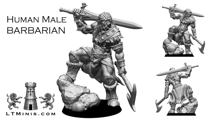 Human Male Barbarian - Lion Tower Miniatures