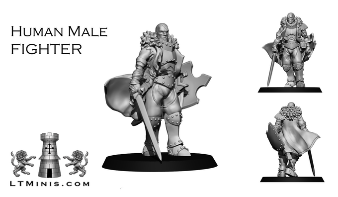 Human Male Fighter - Lion Tower Miniatures
