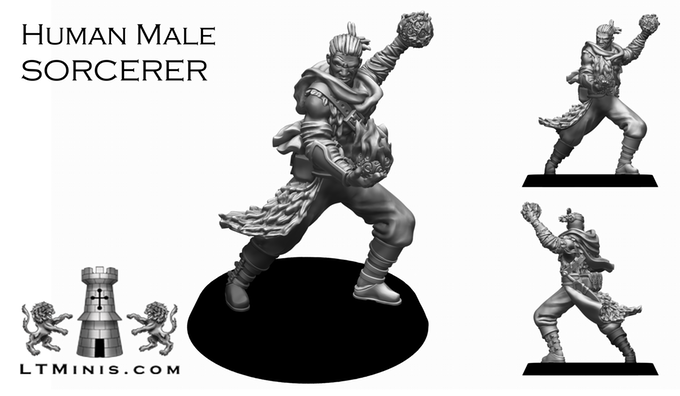 Human Male Sorcerer - Lion Tower Miniatures