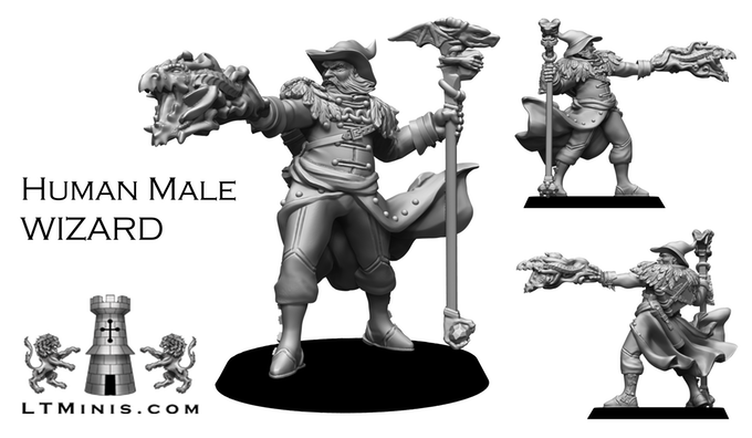 Human Male Wizard - Lion Tower Miniatures