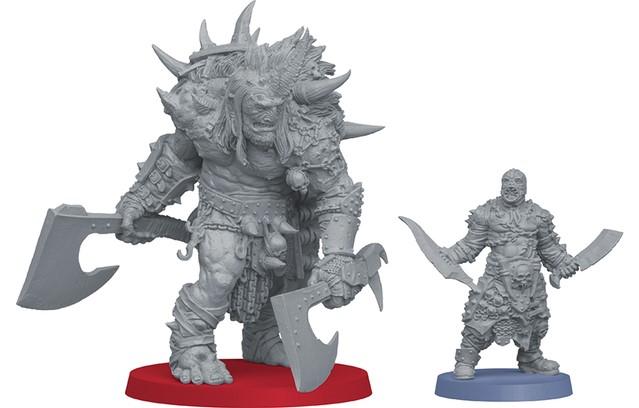 Um'Tull Prince next to an Um'Rak Warrior, for scale.